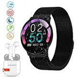 Smartwatch Offerta Del Giorno, Impermeabile DUODUOGO K9 Bluetooth Smartwatch per uomo Donna Bambini Compatibile Android iOS, Tracker Attività Fitness Con Cardiofrequenzimetro (K9-Nero)