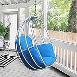 silla colgante de huevo, hamaca columpio con kit de colgar, hamaca en forma de huevo asiento individual para interiores o exteriores, patio, jardín, marco de aluminio, cojín resistente al agua