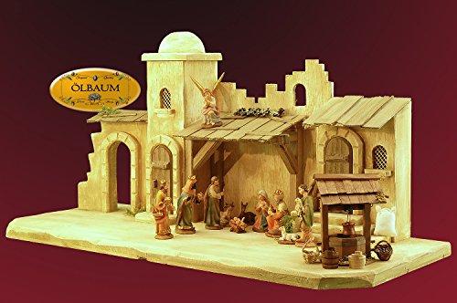 BTV Oelbaum-Krippe KOW70we-MF-BRK- Große XXL 70 cm Weihnachtskrippe, mit LED + Brunnen + Dekor, Massivholz edelweiß ORIENT - mit PREMIUM-Krippenfiguren mit exakter, detailgetreuer Mimik HANDBEMALT -