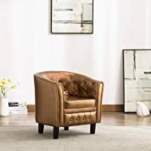 Faux Leather Club Chair Accent Armchair with Square Legs for Living Room Office Small Places