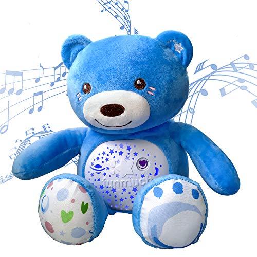 GPTOYS Peluche Bebés Musical, 20 Ruido Blanco Canciones de Cuna y Bebes Luces, Juguete de Oso para Cochecitos o Cuna