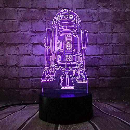Vbnmda 3D Illusion Lamp Led Night Light War R2D2 7 Colors Usb Table Lamp Changing Robot Rocket Model In Bedroom Decor Lava Kid Gift