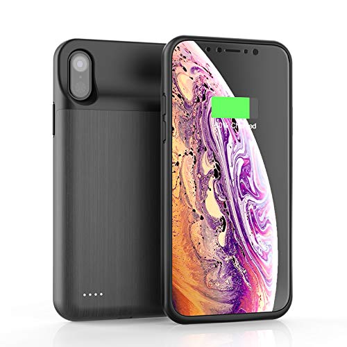 JCK Akku Hülle für iPhone X/XS/10, 5,8 Zoll, 6000mAh Hohe Kapazität Zusatzakku Ladehülle Akku Case Tragbare Power Case Battery Case Cover Powerbank Hülle Wiederaufladbare Akkuhülle für iPhone XS/X/10