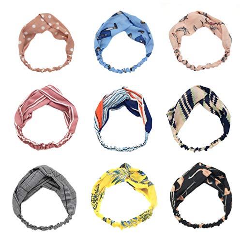 Minkissy 10pcs bandeaux noués croisés bandeaux floraux enveloppement de tête élastique pour Gym Yoga Running (style mixte)