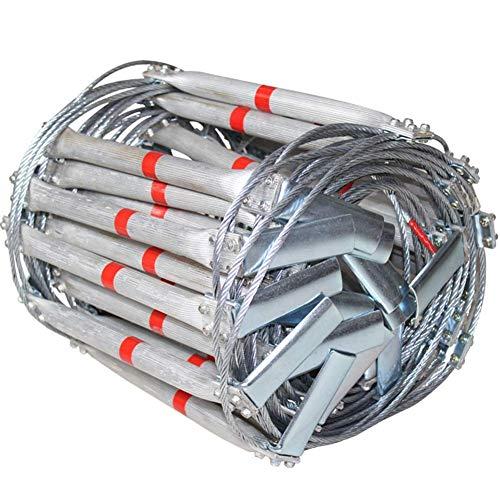 DROMEZ Escape Escalera de Cuerda de Alambre de Acero de aleación de Aluminio Emergencia Rescate de Incendios Escalera de Cuerda de Seguridad Anillo de Gancho Peso del cojinete 500 kg Escape de Vent