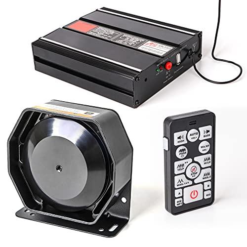 SMALLFATW Police Siren Car Horn Amplifier 20 Tones 100 Watt Wireless Rechargable Remote, Emergency Siren for Truck Car, Car Alarm PA System