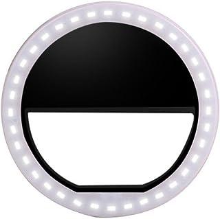 GRACEZING 自撮りLEDリングライト クリップ式 補助ライト セルカライト ランプ 36灯 カメラ 夜間写真 撮影光補充 明るさ調節3段階 三段フィルイン 電池式 緊急照明 フラッシュ スマートフォン/スマホ/iPhone/iPad/A...