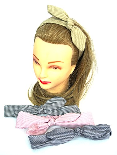 takestop® elastische hoofdband 2 stuks Quadri ANNODATA strik achterkant haarspeld stof hoofdband accessoires kleur willekeurig