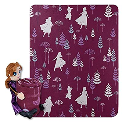 "Disney Frozen 2, ""Dandelion Anna"" Character Shaped Pillow and Fleece Throw Blanket Set, 40"" x 50"", Multi Color, 1 Count"