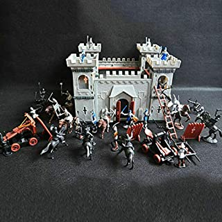 DIY Castle Building The Medieval Times Middle Ages Military Plastic Fort Model Kit Set Knights Catapult Castle Simulated S...