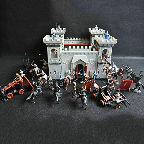 Deepocean DIY Castle Building The Medieval Times Middle Ages Military Plastic Fort Model Kit Set Knights Catapult Castle Simulated Siege War of Attack Gifts for Boy Girl Child Kids