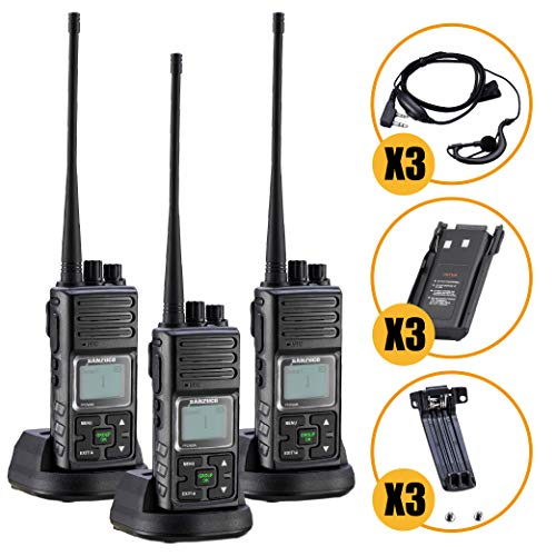 Long Range Rechargeable Two-Way Radio with Earpiece & Mic, Sanzuco Handheld Walkie Talkie with Group Talk Function, Frequency Reprogrammable, 3000mAh Li-Battery, Dock Charger Included (Black, 3 Pack)