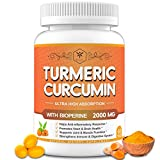 Turmeric Curcumin & Ginger Supplement 2000mg with Black Pepper 95% Curcuminoids - Muscle Joint Pain Relief & Support Inflammatory Response - High Potency Turmeric Curcumin Antioxidant Softgel Capsule