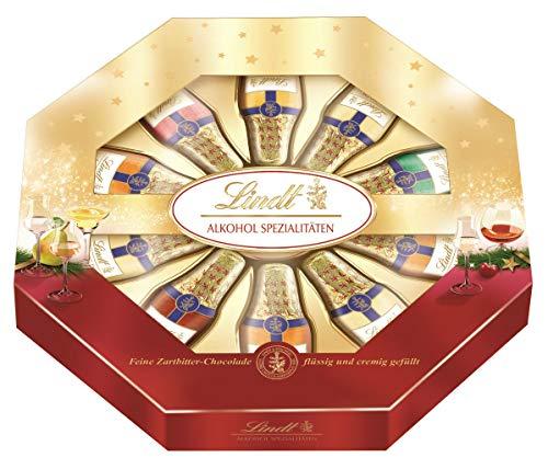 Lindt Alkohol-Spezialitäten Mischung, feine Zartbitter-Chocolade Fläschchen gefüllt mit Marille, Kirschwasser, 2er Pack (2 x 220 g)