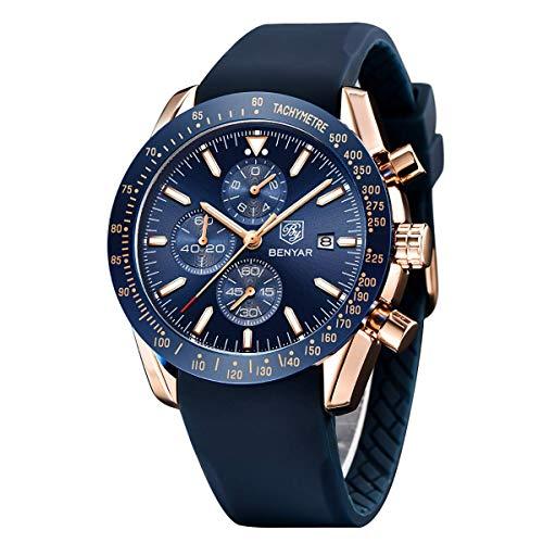 By Benyar elegante orologio uomo analogico al quarzo impermeabile cinturino in gomma inox, cronografo Sportivo orologio da polso da uomo stile casual da lavoro ottimo regalo per uomo…
