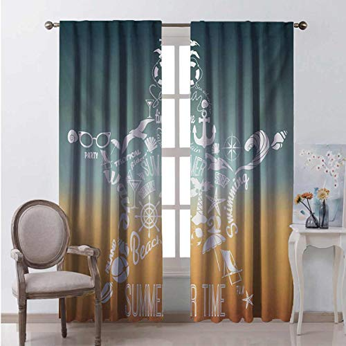 Starfish Energy-saving and noise-reducing Summer Time Travel Icons Adventure Journey Retro Vintage Concept rod-shaped pocket curtains for the living room W96 x L72 Inch Slate Blue Orange White