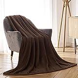 CAI TENG Flannel Fleece Blanket Super Soft Warm Cozy Bed Blanket Plush Lightweight Sofa Throw Blanket (Chocolate Brown, 50 x 60 Inches)
