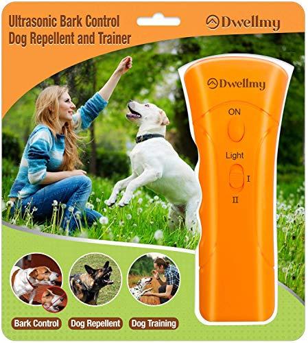 Brellavi DwellMy Dog Training Barking Control Device, Dog Training for Home and The Outdoors, Dog Barking Control and Trainer with LED Flashlight, Orange