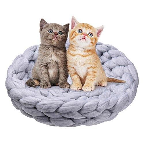 332PageAnn katzenbett katzenhöhle Schlafsack Katze Schlafsack Wolle, Perfekte Kuschelhöhle klein für Kleine Hunde & Katzen Waschbare Gestrickt grau
