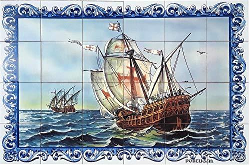 Gemaltes Wandfresko von 90x60cm – 24 Fliesen von 15x15cm - Gemälde auf glasiertem Steingut