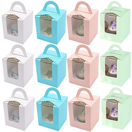 YWQ 12 Piezas Unidades Single Cupcake Boxes,Cajas para Pasteles con Ventana de PVC Transparente,Cajas de Papel para Cupcake con Insertar Ventana y Manija para Tartas,Rebanada Pastel y Postres
