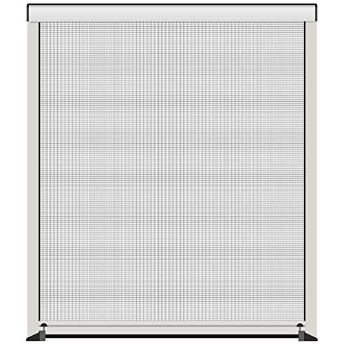 1PLUS Insektenschutz-Rollo für Fenster in weiß - Abmessungen bis max. 130 x 160 cm - Fliegengitter individuell kürzbar