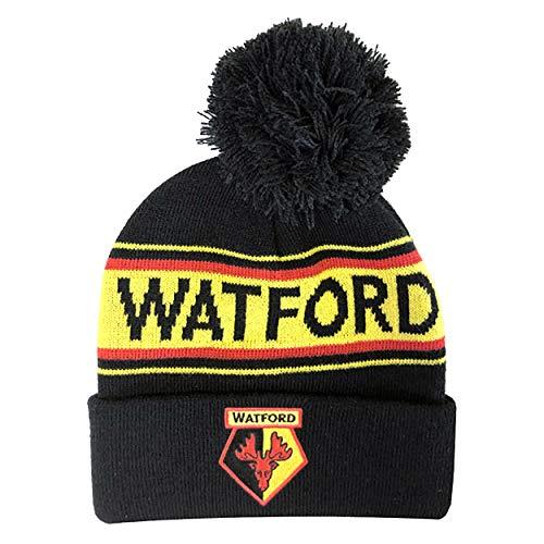 Watford FC - Bonnet tricoté avec pom pom - Adulte (Taille unique) (Noir/Jaune/Rouge)
