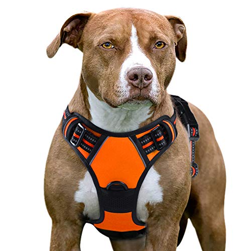 Eagloo Dog Harness No Pull, Walking Pet Harness with 2 Metal Rings and Handle Adjustable Reflective Breathable Oxford Soft Vest Easy Control Front Clip Harness Outdoor for X-Large Dogs Orange