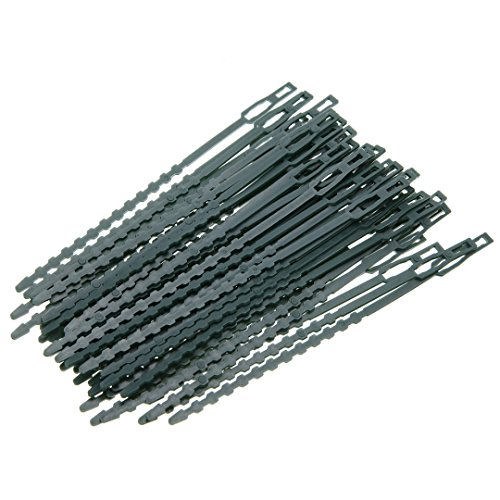 TOOGOO 50piezas/lote Bridas de plastico ajustables de la planta Bridas de plastico reutilizables para soporte de la escalada del arbol del jardin