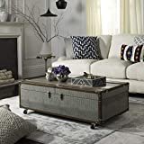 Safavieh Home Zoe Grey Faux Leather Storage Trunk Coffee Table with Wine Rack