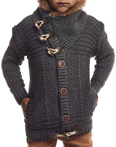 Leif Nelson kinderen jongens gebreide jas rits Cardigan zwart jack voor winter winterjas overgangsjas vrijetijdsjas kinderjacks lange mouwen sjaalkraag LN7100K