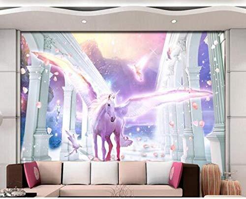 Nomte European Styl Romeinse zuil Flying Unicorn Pegasus bloemblad achtergrond fotobehang 3D behang muurschildering 250x175cm