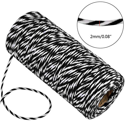 Topbuti 984 Feet 2mm Cotton Bakers Twine, Christmas Wrapping Twine Gift Packing String Rope Cord for DIY Crafts, Valentine's Day Holiday (Red and White, Black and White, Yellow and White) Photo #3