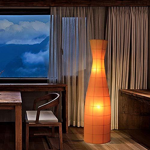 VOMI Reispapier Stehlampe Papier Led Dimmbar Wohnzimmer Retro Modern Design Mit Fernbedienung Vintage Industrie E27 Orange Mit Lampenschirm 2 Flammig Standleuchte Innen Groß Stehleuchte Papierschirm