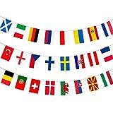 AhfuLife Banderín de tela con diseño de la Eurocopa 2021, para todos los 24 equipos participantes, para decoración de jardín, bar, restaurante y...