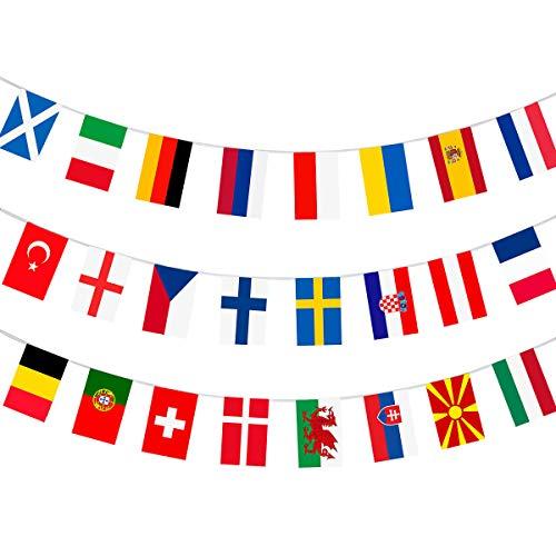 AhfuLife Banderín de tela con diseño de la Eurocopa 2021, para todos los 24 equipos participantes, para decoración de jardín, bar, restaurante y fiesta (1 paquete, 20x28 cm-11 m)