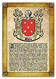 Historia y Origen del Apellido Abela   Lámina Impresa en Alta resolución + Certificado de Garantía + Plantilla Árbol Familiar de 6 Generaciones