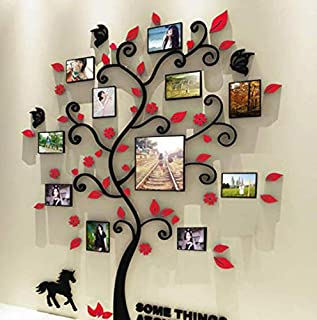 zy 3D DIY Family Photo Frame Tree arcylic Wall Sticker Self-adhesive wall decal Living room TV background bedroom home decor wall sticker,red color