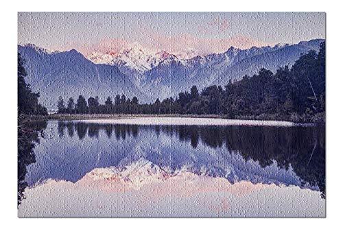 Lake Matheson, New Zealand - Sunset & Mountain Reflection 9005810 (19x27 Premium 1000 Piece Jigsaw Puzzle, Made in USA!)