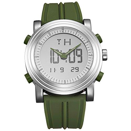 BUREI Analógico Digital Reloj de Pulsera de los Hombres Cronómetro multifunción Deporte Estilo Banda de Goma (AG-FBA-GS-S9368G-4)
