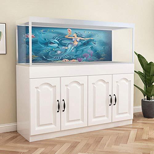 YUXAN 3D Sticker Mural Creative Fish Tank Autocollant Pvc Sous-Marine Sirène Aquarium Salle De Bains Décoration De La Maison Art Mural-40X60 Cm