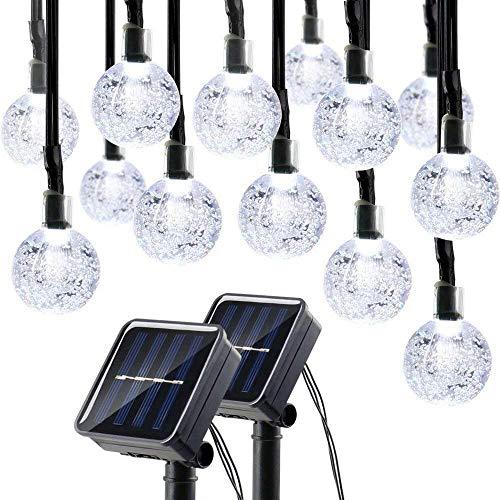 lederTEK Solar Lichterkette Weihnachten, 6m, 30er LED, 2 Stück, Kugel Form, Wasserdichte Weihnachtsbeleuchtung, Weihnachtsdeko für Party, Außen, Haus,(weiß)
