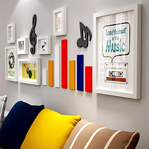 Creatieve Muzikale Symbool Foto Muur Wit Zwart Fotolijst Set Eenvoudige Kunst Grote Fotolijst Muur Set Effen Hout Fotolijst Meerdere Foto's Muur Gemonteerd Voor Home Decoratie
