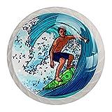 Ocean Wave and Man - Juego de 4 pomos redondos para aparador, diseño floral colorido y decorativo para cajón