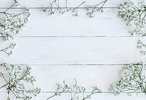 Fondos Grises para fotografía Tablero de Madera Flores de Primavera Borla Pétalo Muñeca Bebé Mascota Retrato Fotografía Telones de Fondo A6 10x10ft / 3x3m