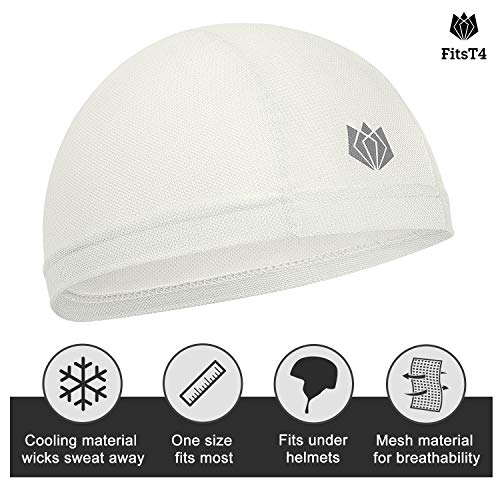 FitsT4 Active Sweat Wicking Bike Helmet Liner Cycling Skull Cap with UPF 50+ Sun Protection & Mesh Cooling for Women & Men White