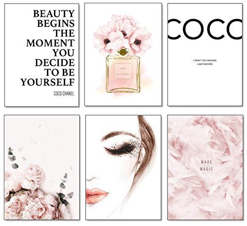 artpin® 6er Poster Set Wohnzimmer - Bilder Deko Schlafzimmer - Stilvolle Wandbilder - A4 ohne Bilderrahmen - Design Coco Rosa W2