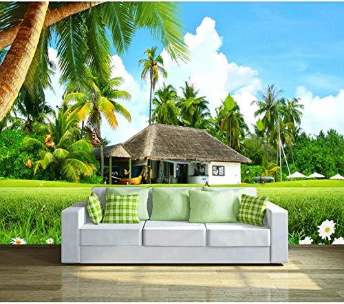 Fototapete 3D Effekt Wand Dekoration Vlies 430X300Cm Kokospalmenhaus Auf Grünem Gras Tapete Moderne Wanddeko Wandbilder