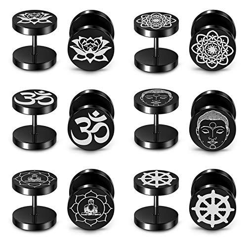 PiercingJak - Lote de 6 pares de pendientes falsos dilatadores de acero inoxidable, redondos, budista, loto buda, joya Stud Punk Rock para hombre y mujer