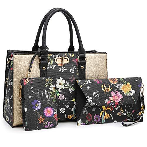 Dasein Women Handbags Top Handle Satchel Purse with Matching Wallet Set 3Pcs (Gold/Black Flower)